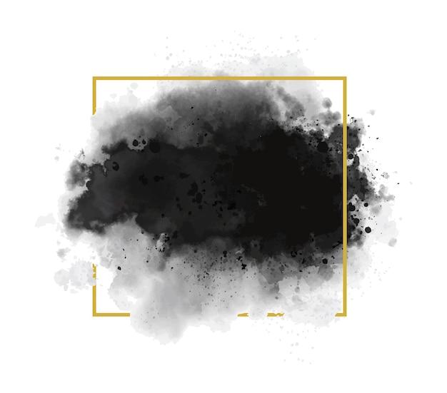 Schwarzes aquarell mit goldlinienrahmen auf weißer hintergrundschmutzart-vektorillustration