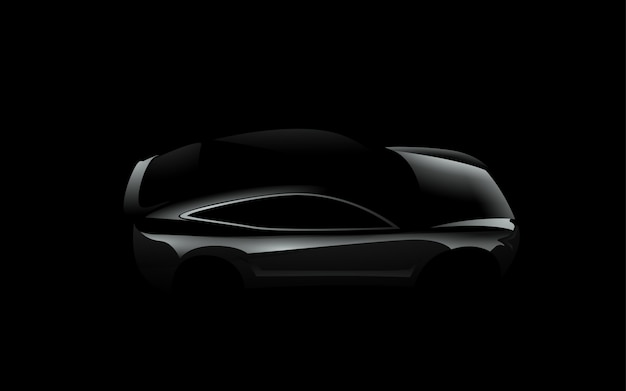 Schwarzes autoschattenbild der seitenansicht auf dunklem hintergrund