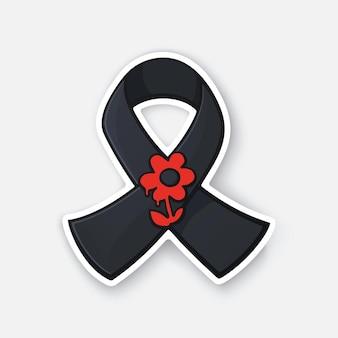 Schwarzes band mit roter blume welttag-erinnerung für verkehrsopfer vektor-illustration