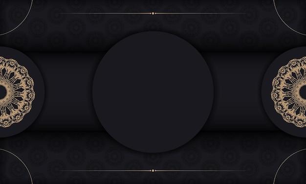 Schwarzes banner mit braunem vintage-muster und platz für ihr logo oder ihren text