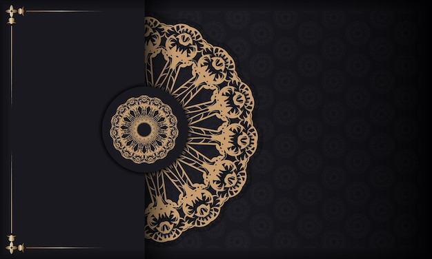 Schwarzes banner mit braunem vintage-muster und platz für ihr logo