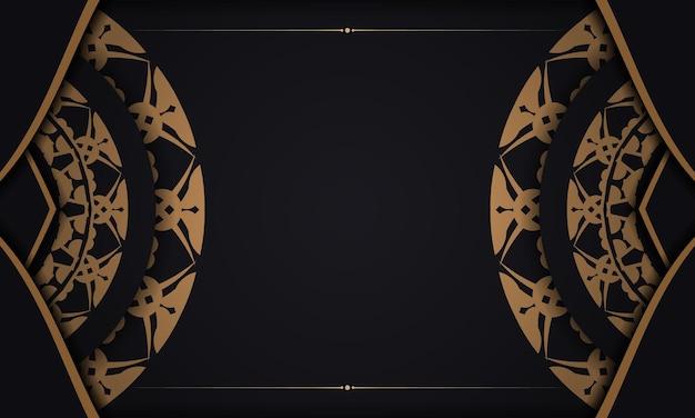 Schwarzes banner mit braunem vintage-muster und platz für text