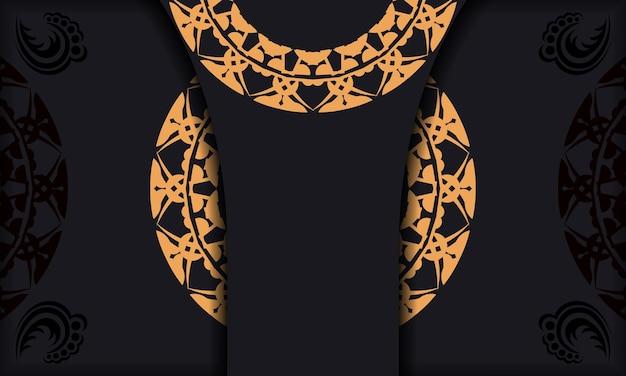 Schwarzes banner mit luxuriösem braunem ornament und einem platz für das logo