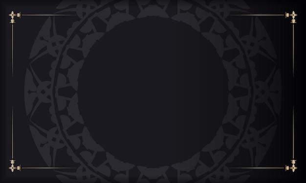 Schwarzes banner mit luxuriösem braunem ornament und platz für ihr logo