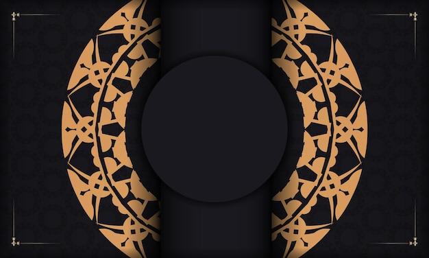 Schwarzes banner mit luxuriösem braunem ornament und platz für ihren text