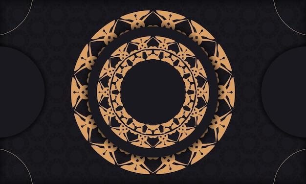 Schwarzes banner mit luxuriösem braunem ornament und platz für logo oder text