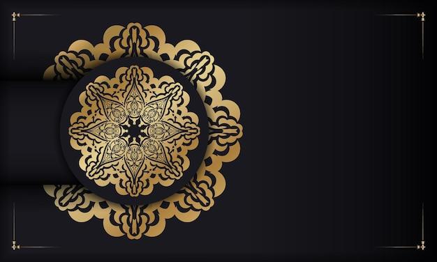 Schwarzes banner mit luxuriösem goldmuster und platz für logo oder text