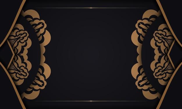 Schwarzes banner mit luxuriösen ornamenten und platz für ihren text. druckfertiges postkartendesign
