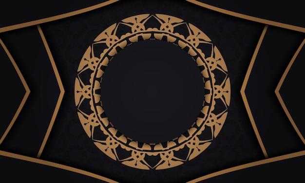 Schwarzes banner mit luxuriöser brauner verzierung und platz für ihr logo oder ihren text