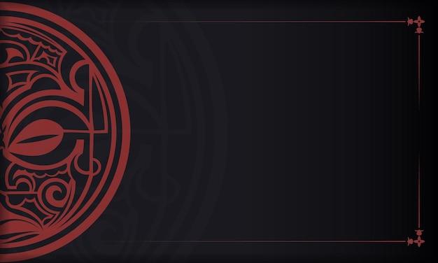 Schwarzes banner mit maori-gott-maskenverzierungen und platz für ihr logo.