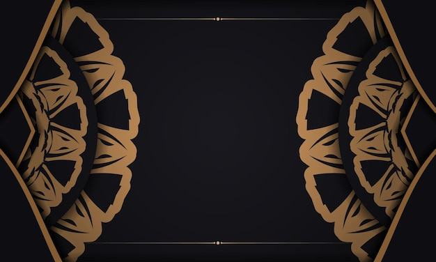 Schwarzes banner mit ornamenten für ihr logo. vektordesignhintergrund mit luxuriösen mustern.