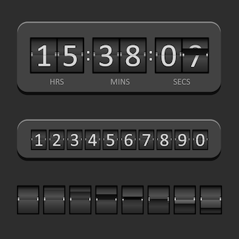 Schwarzes countdown-brett und timer-vektorillustration