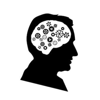 Schwarzes detailliertes gesichtsprofil des mannes mit kompliziertem zahnradmechanismus im gehirn isoliert auf weiß