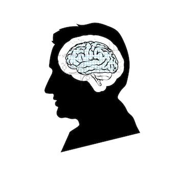 Schwarzes detailliertes gesichtsprofil des mannes mit mathematischem technischem gehirn isoliert auf weiß