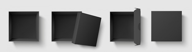 Schwarzes draufsichtfeld. dunkle paketquadratboxen mit offener kappe, leere würfelpakete modell 3d isolierte schablonenvektorillustrationssatz