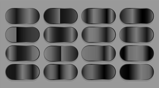 Schwarzes, dunkel glänzendes farbverlaufsset