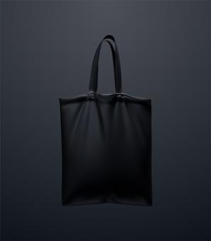 Schwarzes einkaufstaschenmodell. 3d-illustration. wiederverwendbares textilhandtaschen-design. realistische einkaufstasche aus segeltuch. öko-konzept