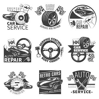 Schwarzes emblem der autoreparatur, das mit beschreibungen der klassischen garagenvektorillustration der autowerkstatt der besten wahl gesetzt wird
