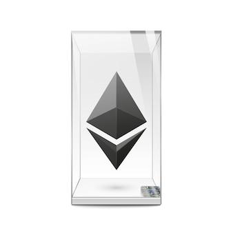 Schwarzes ethereum-logo in der glasvitrine. vorlage