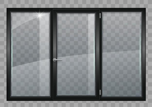 Schwarzes fenster mit transparentem glas