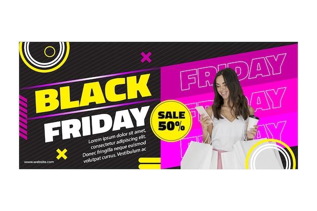 Schwarzes freitag-banner des weiblichen modells
