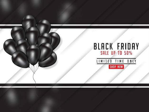 Schwarzes freitag-plakat mit realistischem ballon 3d