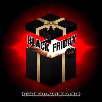 Schwarzes freitagsbanner mit geöffnetem geschenkboxlicht