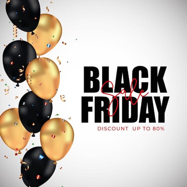 Schwarzes freitagsbanner mit goldenen und schwarzen luftballons zwischen luftschlangen