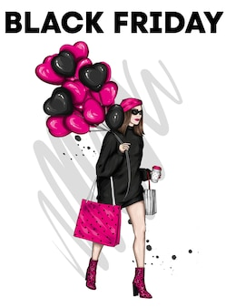 Schwarzes freitagsposter mit schönem mädchen in stilvoller kleidung
