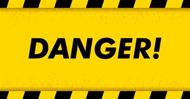 Schwarzes gestreiftes rechteck auf gelbem hintergrund. leeres warnzeichen. warnung hintergrund. vorlage. vektor-illustration