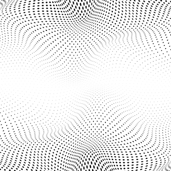 Schwarzes gewelltes halbtonbild auf weißem hintergrundvektor
