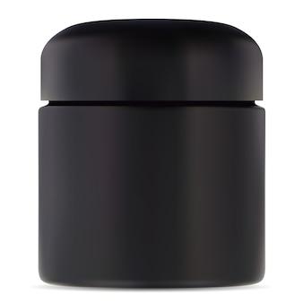 Schwarzes glas. kunststoffbehälter für kosmetische cremes