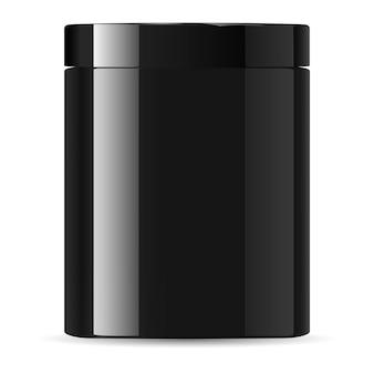Schwarzes glas-sahnebehälter-kosmetikglas