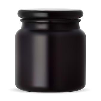 Schwarzes glas. schönheitscreme verpackung wachsflasche