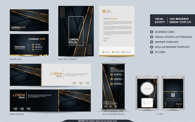 Schwarzes goldbriefpapiersatz und sichtmarkenidentität mit abstrakter deckung überlagert hintergrund
