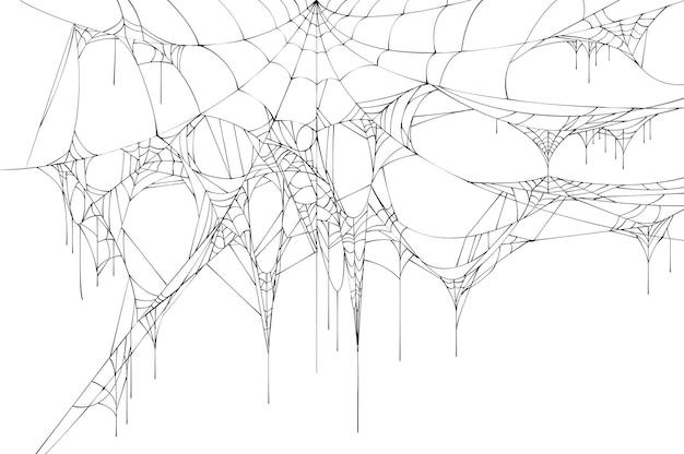 Schwarzes großes zerrissenes spinnennetz.