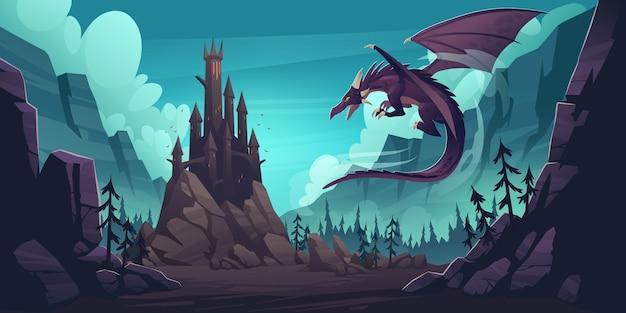 Schwarzes gruseliges schloss und fliegender drache im canyon mit bergen und wald. cartoon-fantasieillustration mit mittelalterlichem palast mit türmen, gruseligem tier mit flügeln, felsen und kiefern
