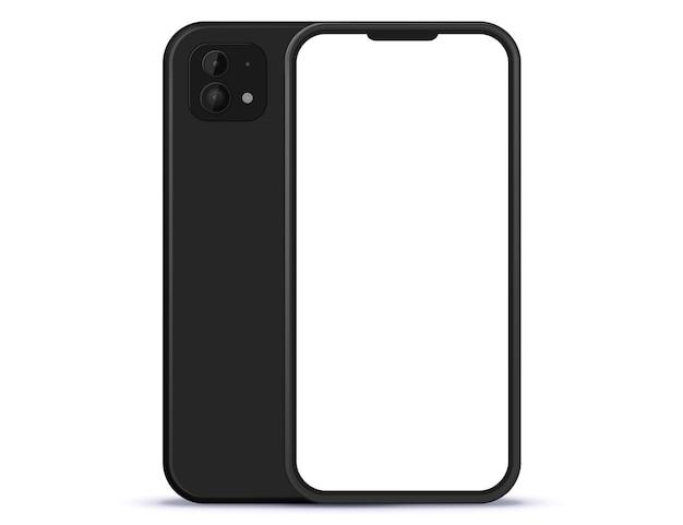 Schwarzes handy vorder- und rückansicht. white screen smartphone illustration.