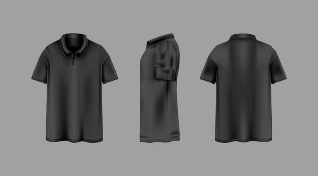 Schwarzes hemd mit kragen mit verschiedenen blickwinkeln vorlage
