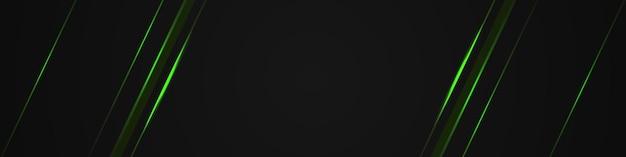 Schwarzes horizontales abstraktes breites banner mit grüner lichtlinie