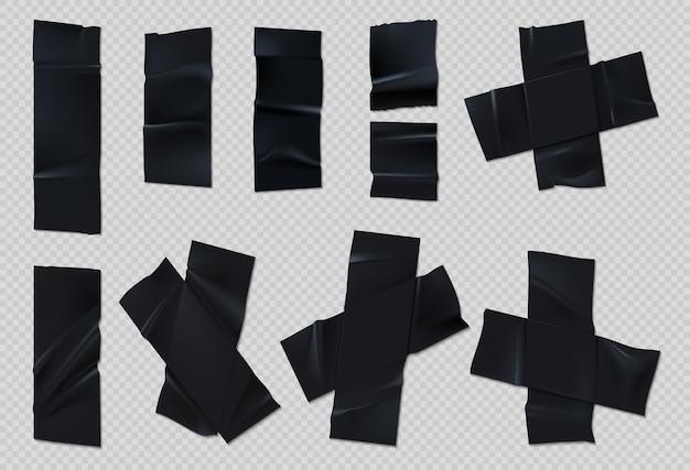 Schwarzes klebeband. realistischer, zerrissener scotch mit falten auf transparentem hintergrund