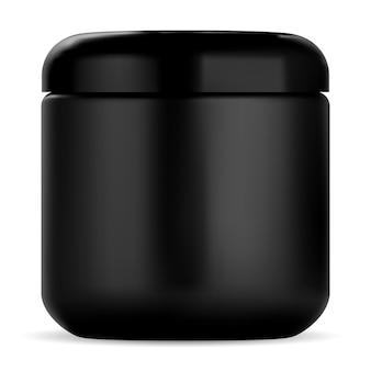 Schwarzes kosmetikglas. cremebehälter aus kunststoff