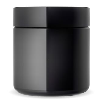 Schwarzes kosmetikglas.