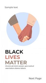 Schwarzes leben ist ein gemischtrassiges paar, das hand in hand eine sensibilisierungskampagne gegen rassendiskriminierung durchführt