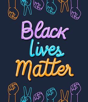 Schwarzes leben ist wichtig mit fäusten und frieden und liebeshänden
