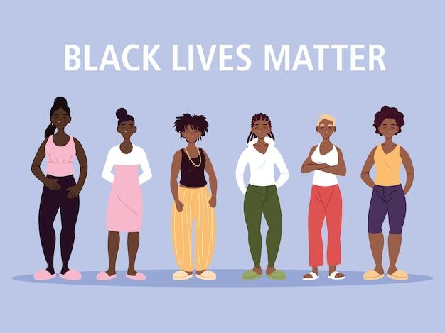 Schwarzes leben ist wichtig mit frauen-cartoons von protestgerechtigkeit und rassismus-themenillustration