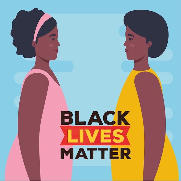 Schwarzes leben ist wichtig, profil afrikanischer frauen, rassismus stoppen.