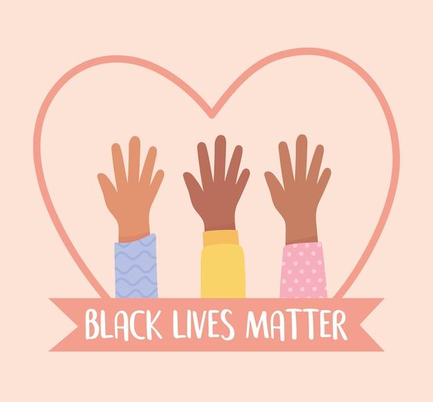 Schwarzes leben materie banner für protest, erhöhte hände vielfalt im herzen, sensibilisierungskampagne gegen rassendiskriminierung