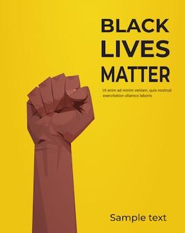 Schwarzes leben materie banner hob faust sensibilisierungskampagne gegen rassendiskriminierung der dunklen hautfarbe