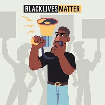 Schwarzes leben materie illustriertes konzept